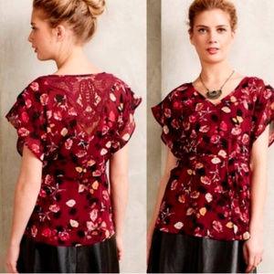 Athropologie Rose Garden Kimono Blouse Med